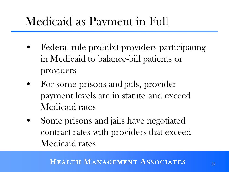 Medicaid as Payment in Full