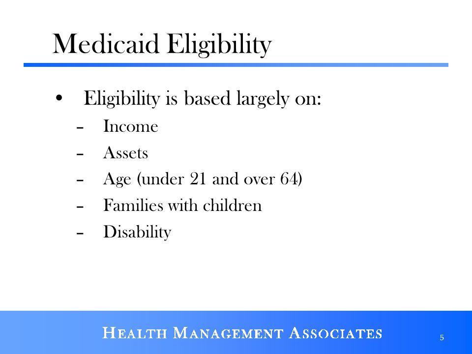 Medicaid Eligibility Eligibility is based largely on: Income Assets