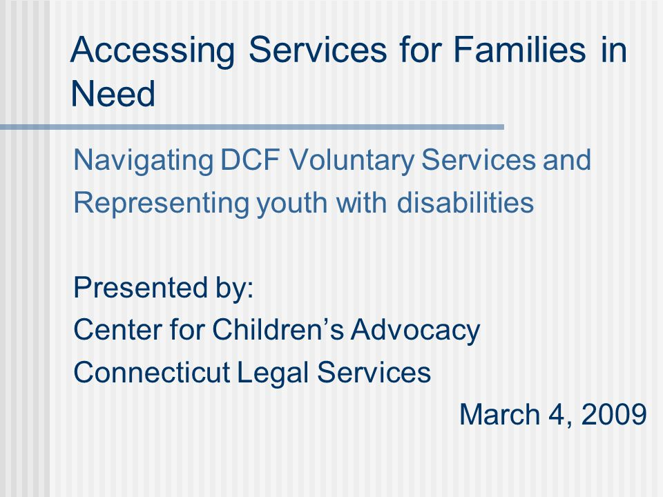 Accessing Services for Families in Need