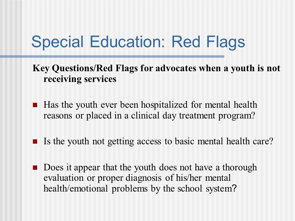 Special Education: Red Flags