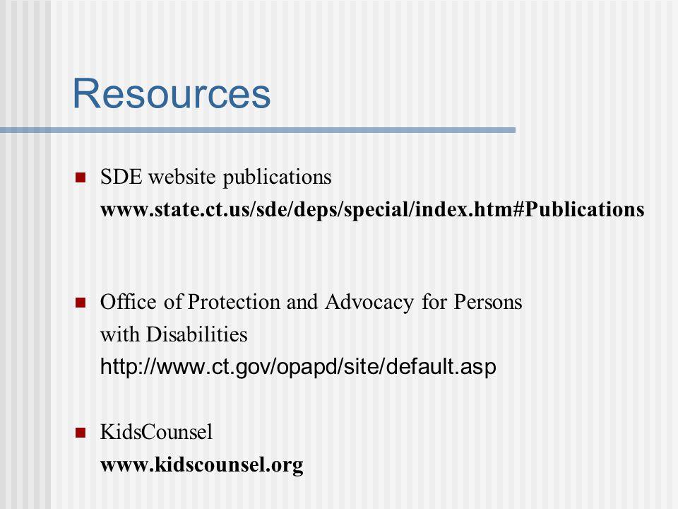 Resources SDE website publications