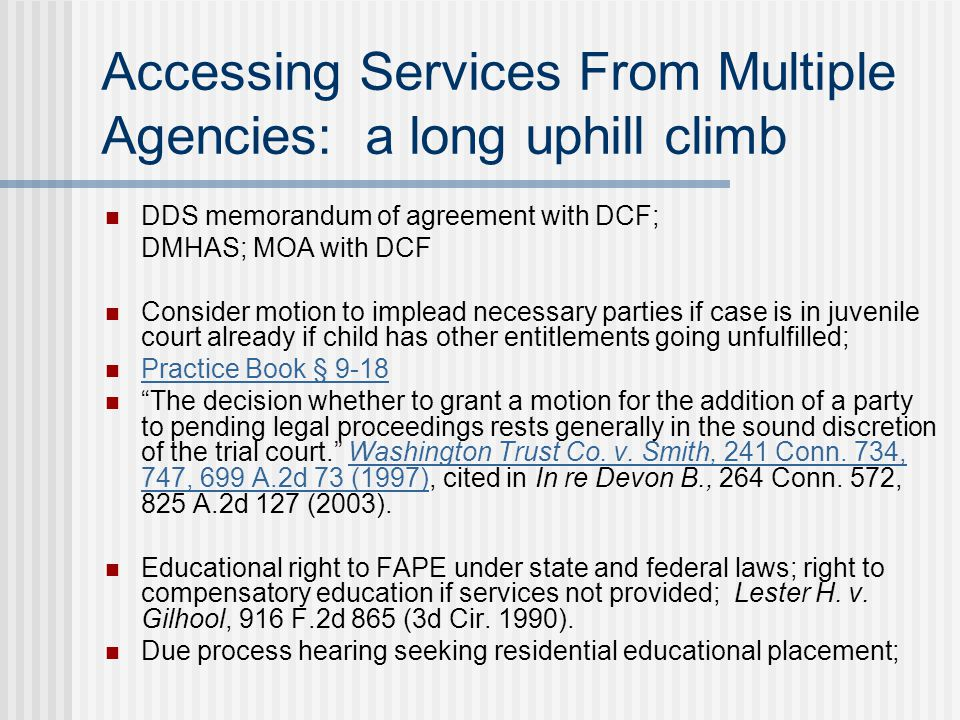 Accessing Services From Multiple Agencies: a long uphill climb