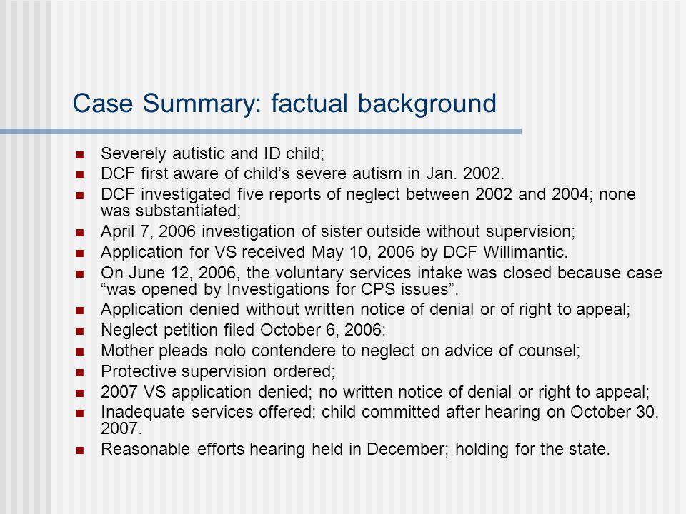 Case Summary: factual background