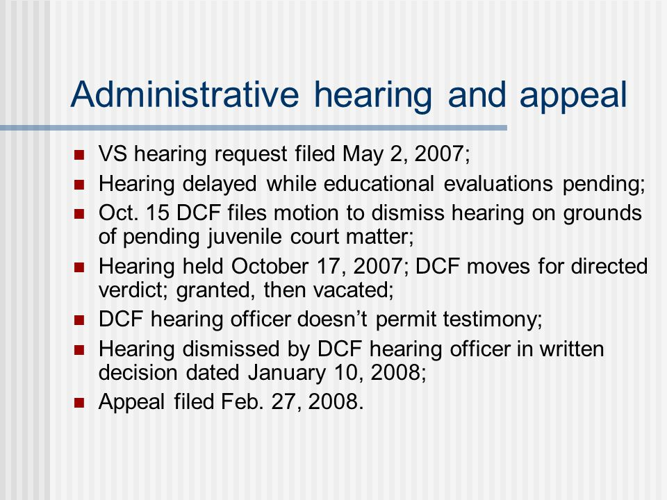 Administrative hearing and appeal