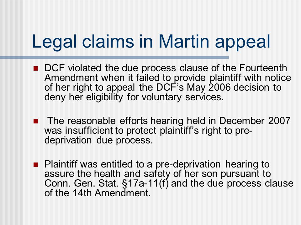 Legal claims in Martin appeal