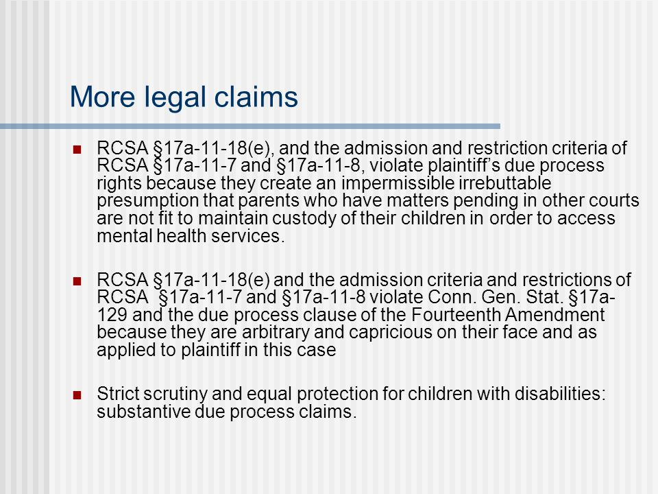 More legal claims