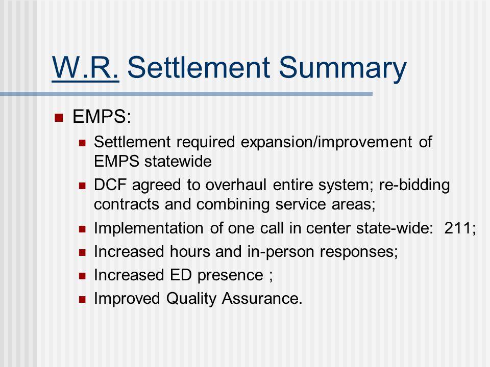 W.R. Settlement Summary EMPS: