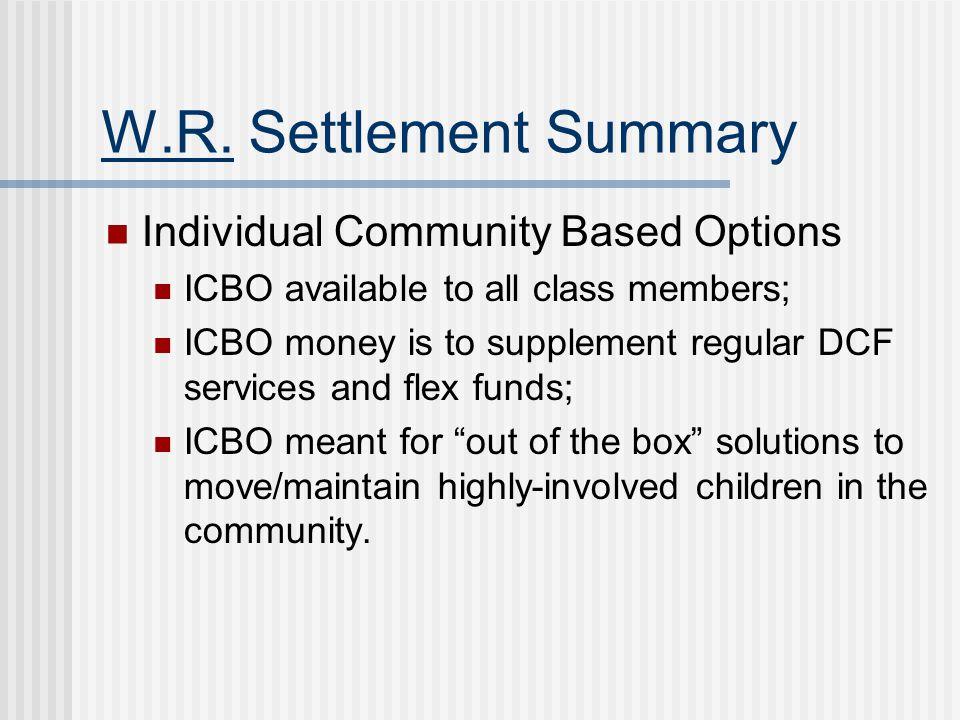 W.R. Settlement Summary Individual Community Based Options