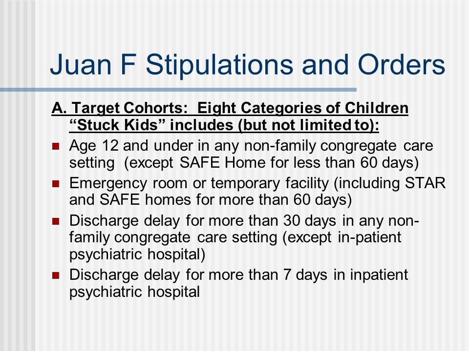 Juan F Stipulations and Orders