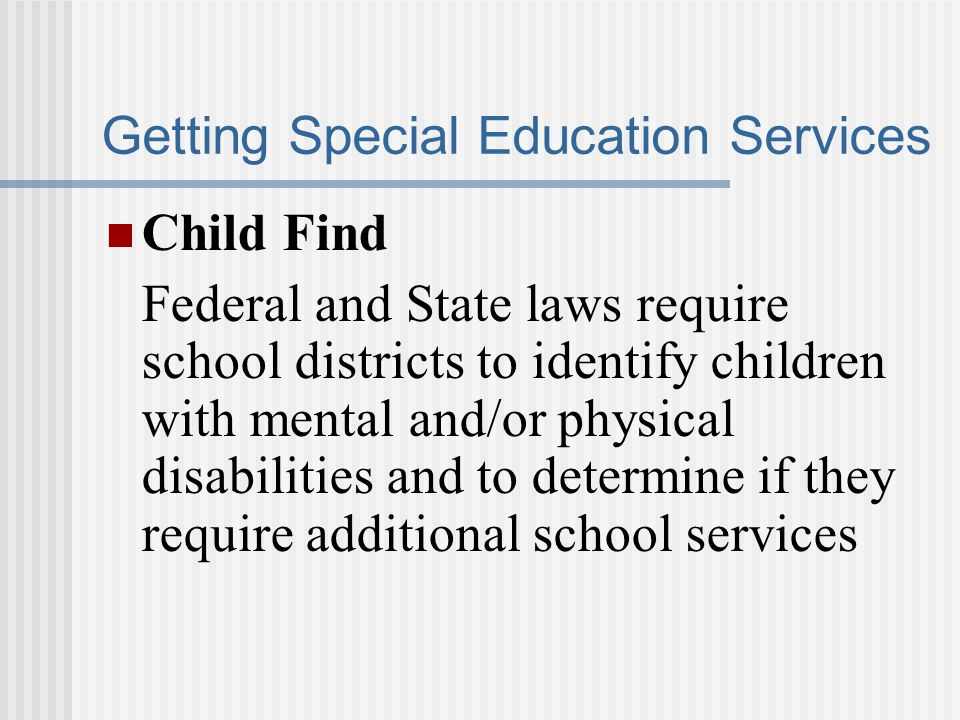Getting Special Education Services