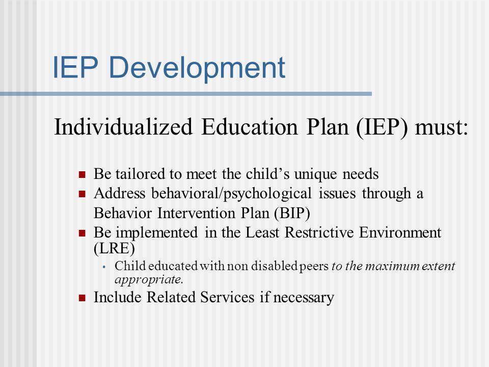 IEP Development Individualized Education Plan (IEP) must: