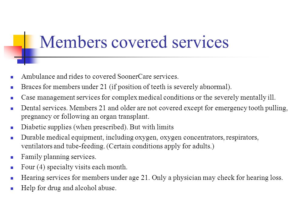 Members covered services