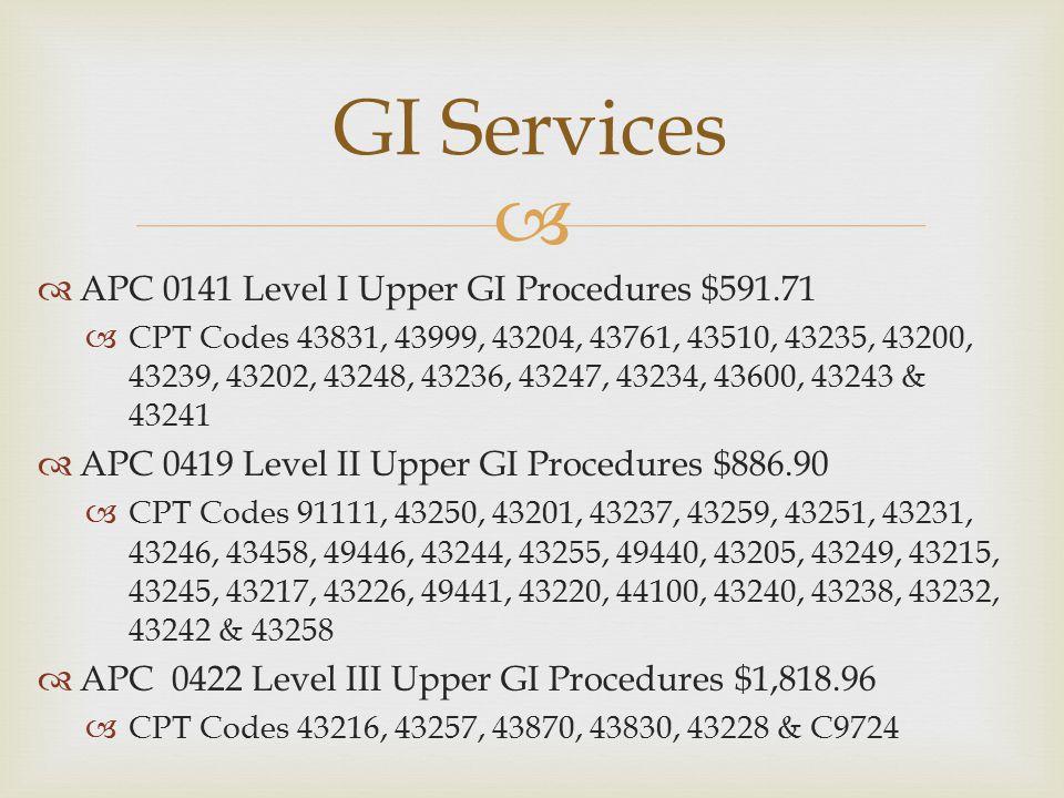 GI Services APC 0141 Level I Upper GI Procedures $591.71