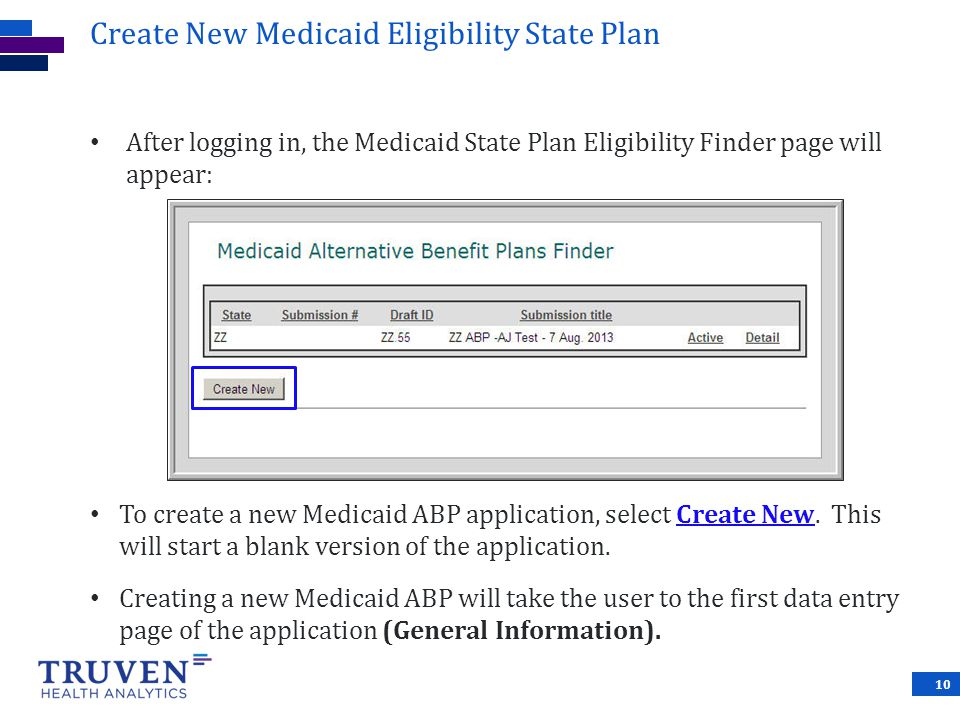 Create New Medicaid Eligibility State Plan