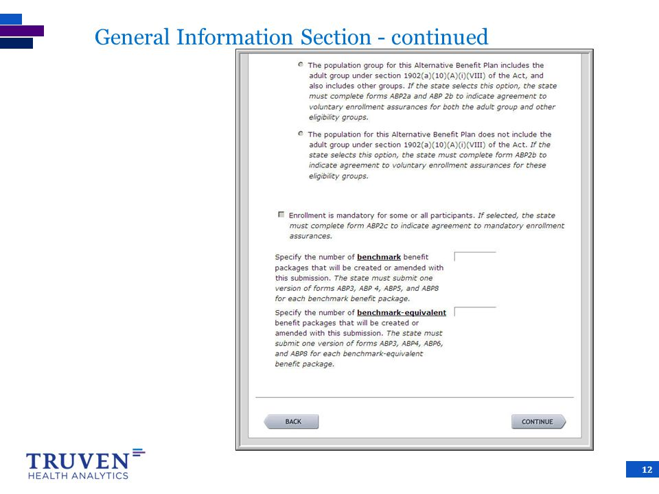General Information Section - continued