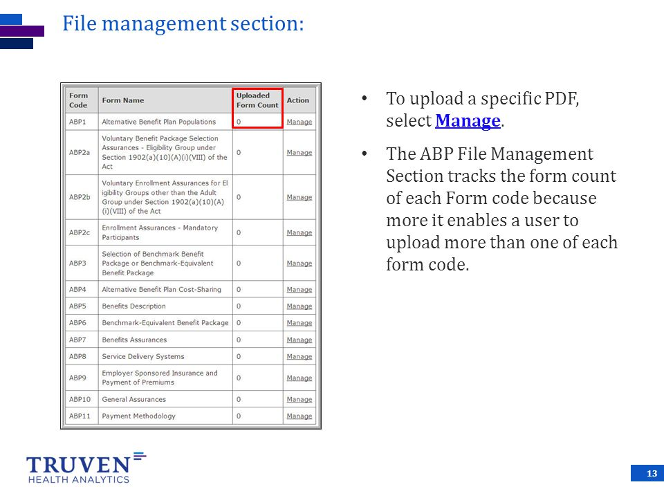 File management section: