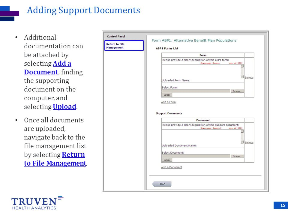 Adding Support Documents