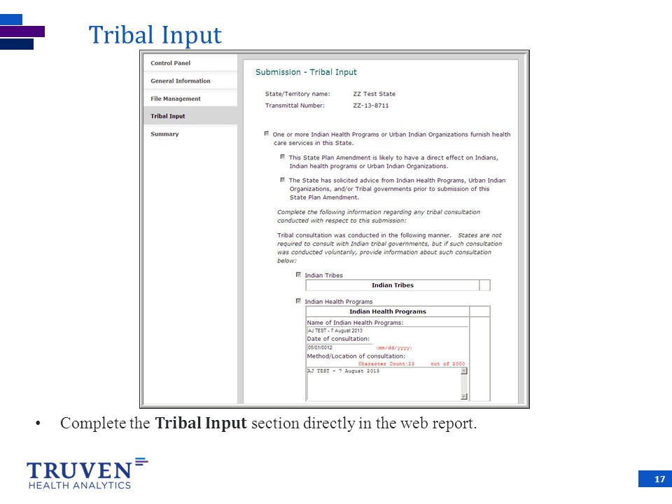 Tribal Input Complete the Tribal Input section directly in the web report.