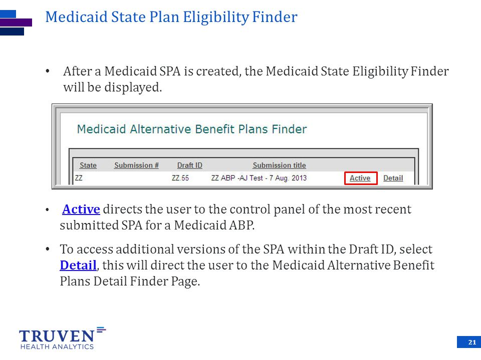 Medicaid State Plan Eligibility Finder