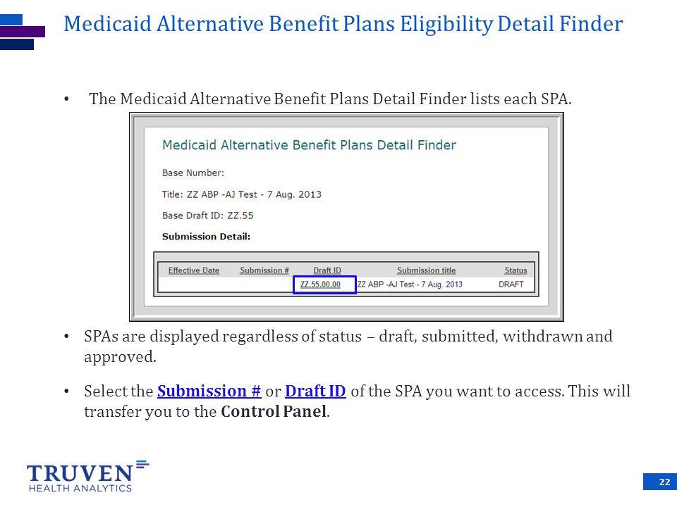 Medicaid Alternative Benefit Plans Eligibility Detail Finder