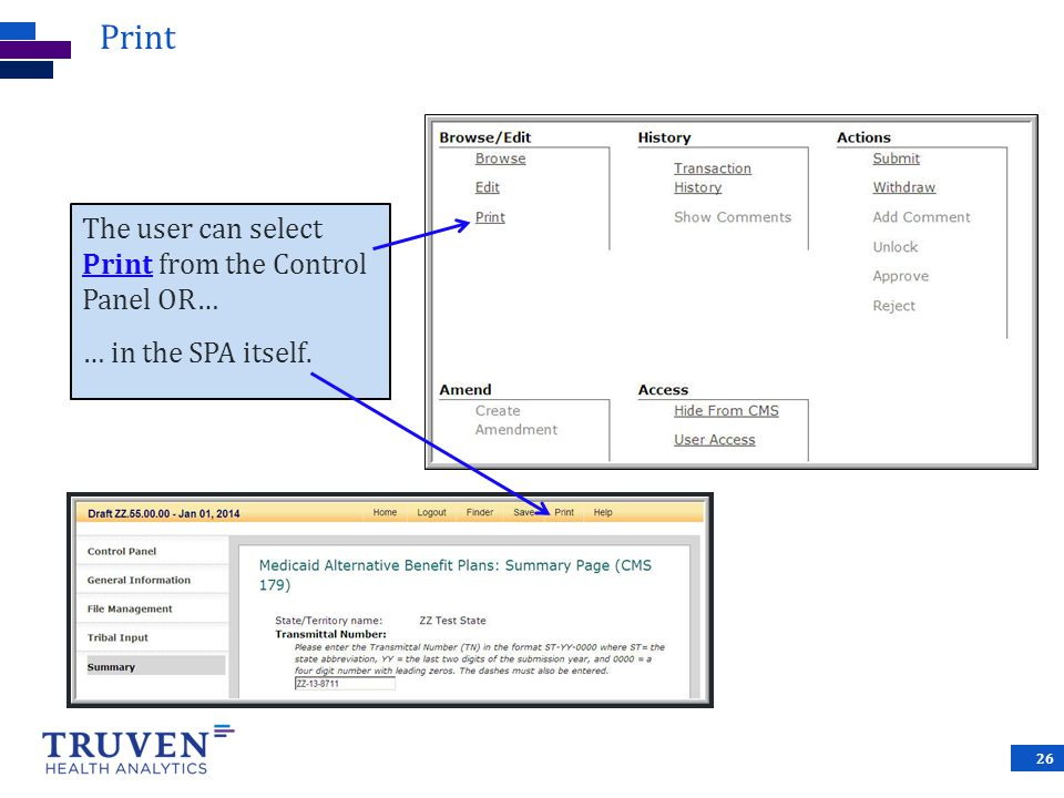 Print The user can select Print from the Control Panel OR… … in the SPA itself.