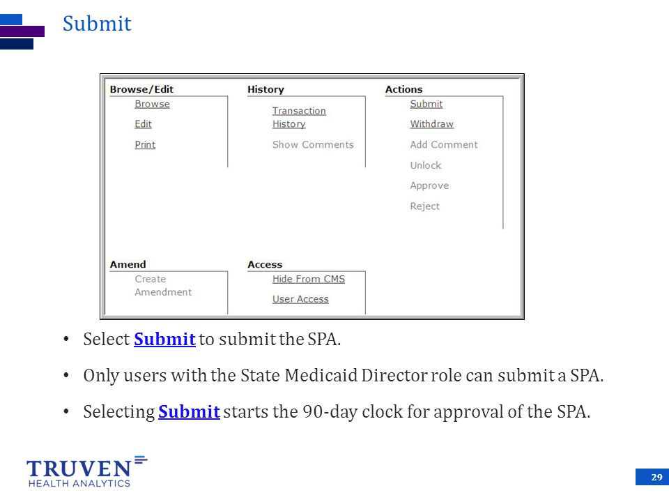 Submit Select Submit to submit the SPA.