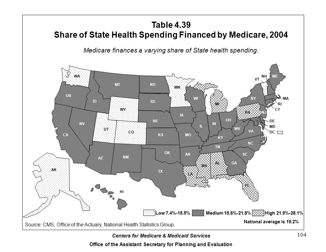 Table 4.39 Share of State Health Spending Financed by Medicare, 2004