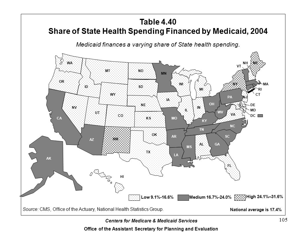 Table 4.40 Share of State Health Spending Financed by Medicaid, 2004