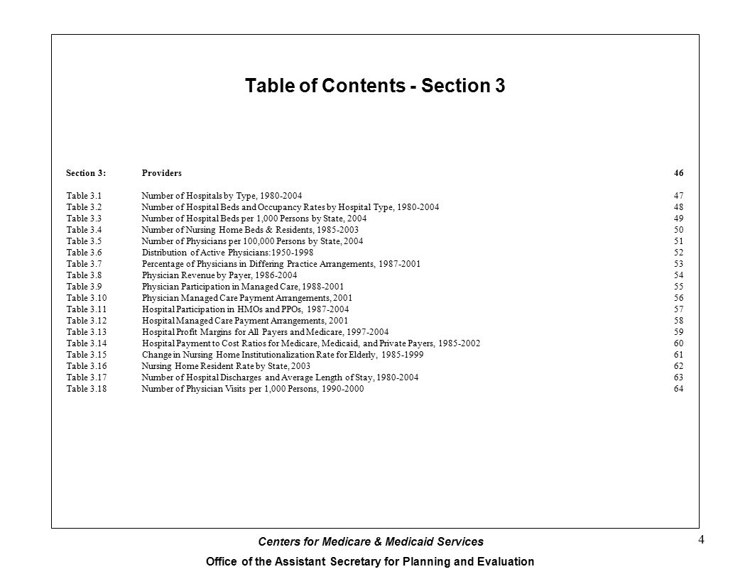Table of Contents - Section 3