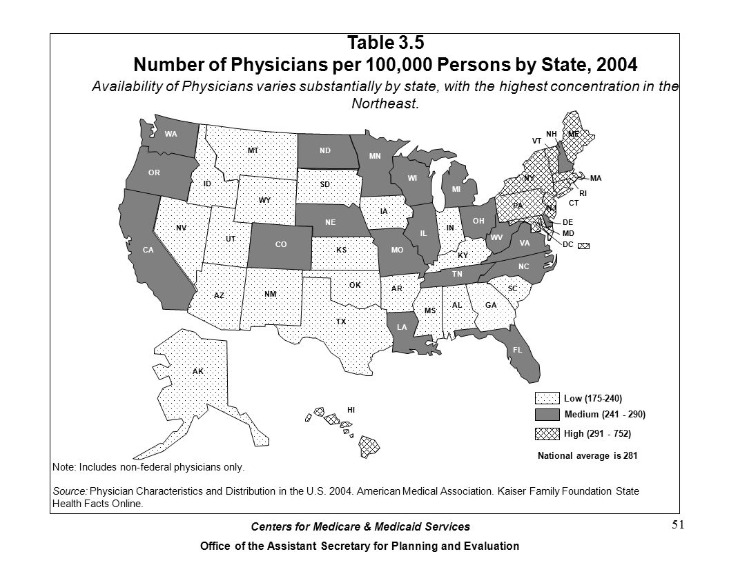 Table 3.5 Number of Physicians per 100,000 Persons by State, 2004
