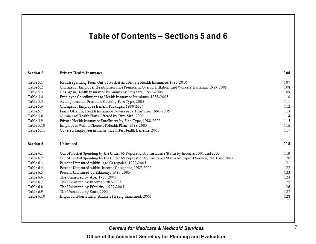 Table of Contents – Sections 5 and 6