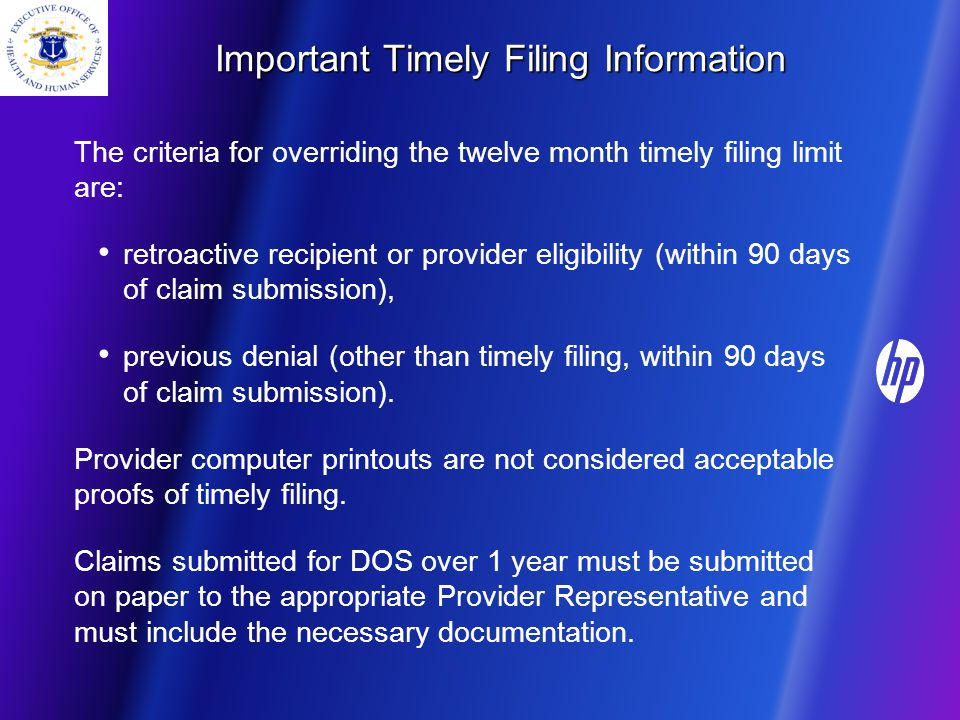 Important Timely Filing Information