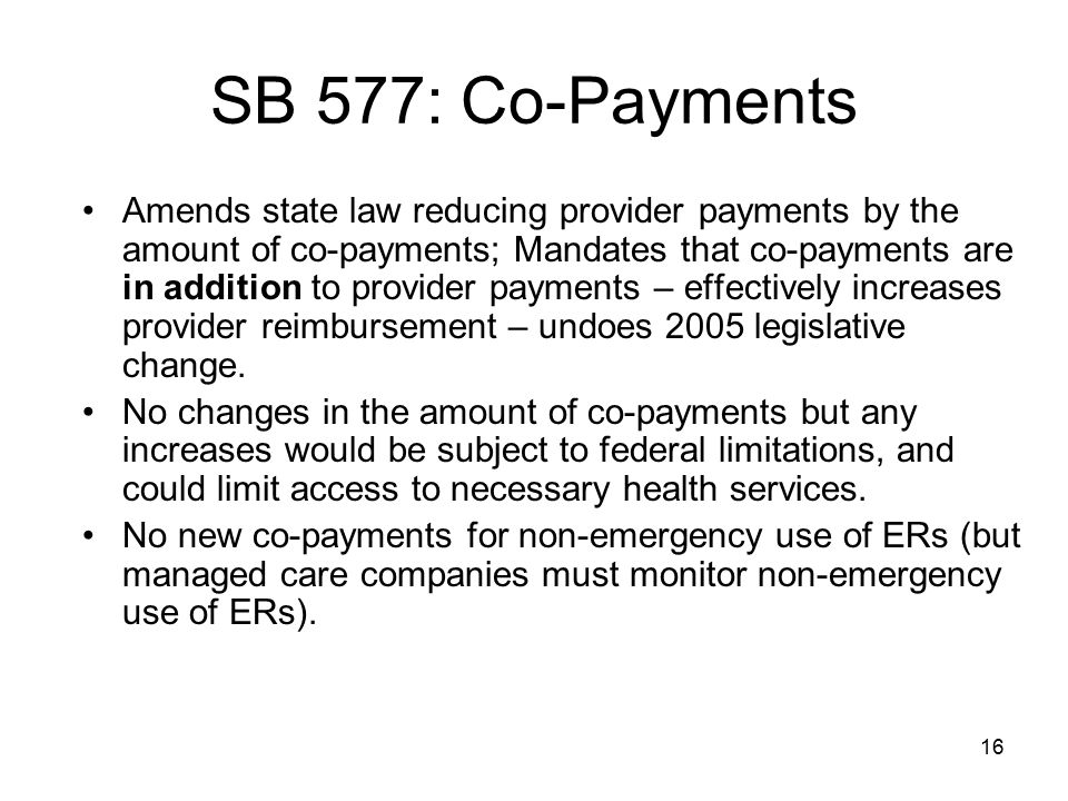 SB 577: Co-Payments