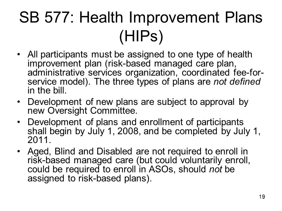 SB 577: Health Improvement Plans (HIPs)