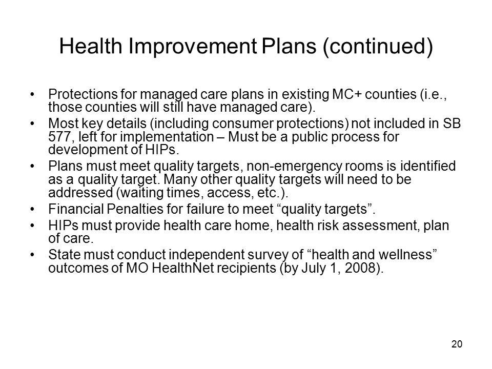 Health Improvement Plans (continued)