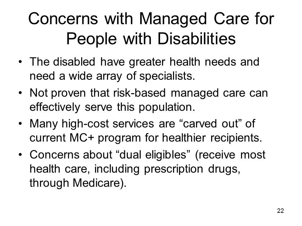 Concerns with Managed Care for People with Disabilities