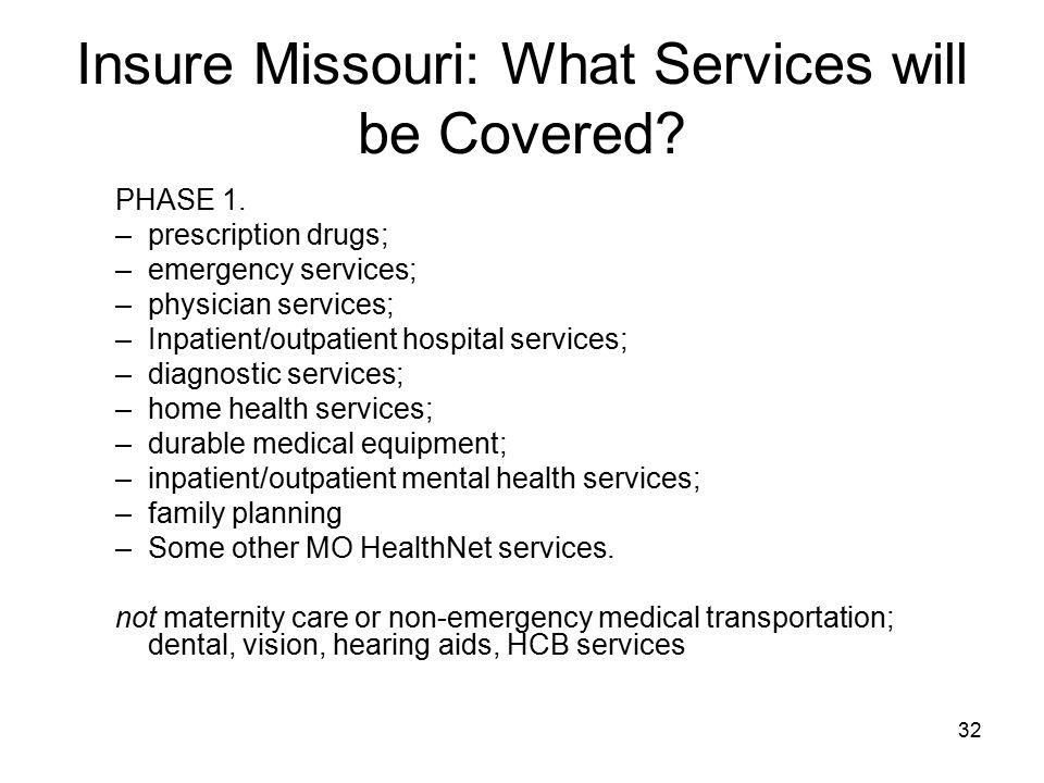 Insure Missouri: What Services will be Covered