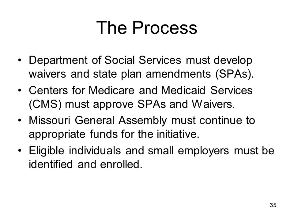 The Process Department of Social Services must develop waivers and state plan amendments (SPAs).