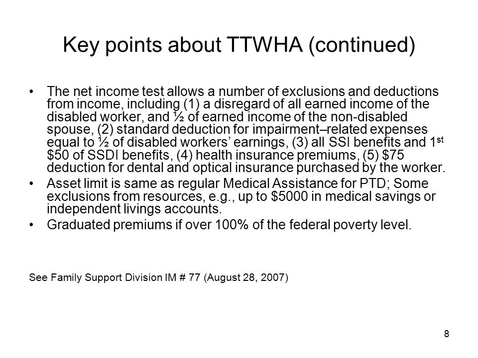 Key points about TTWHA (continued)