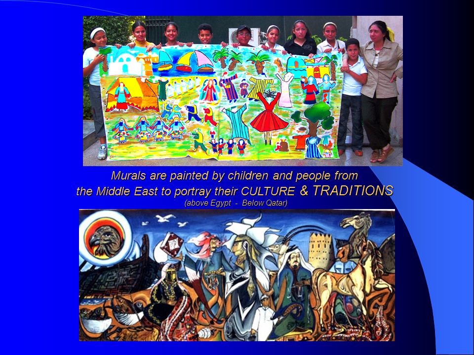 Murals are painted by children and people from