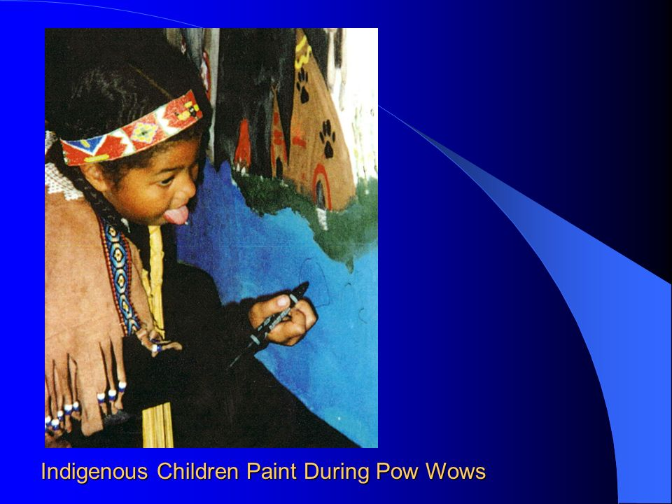 Indigenous Children Paint During Pow Wows