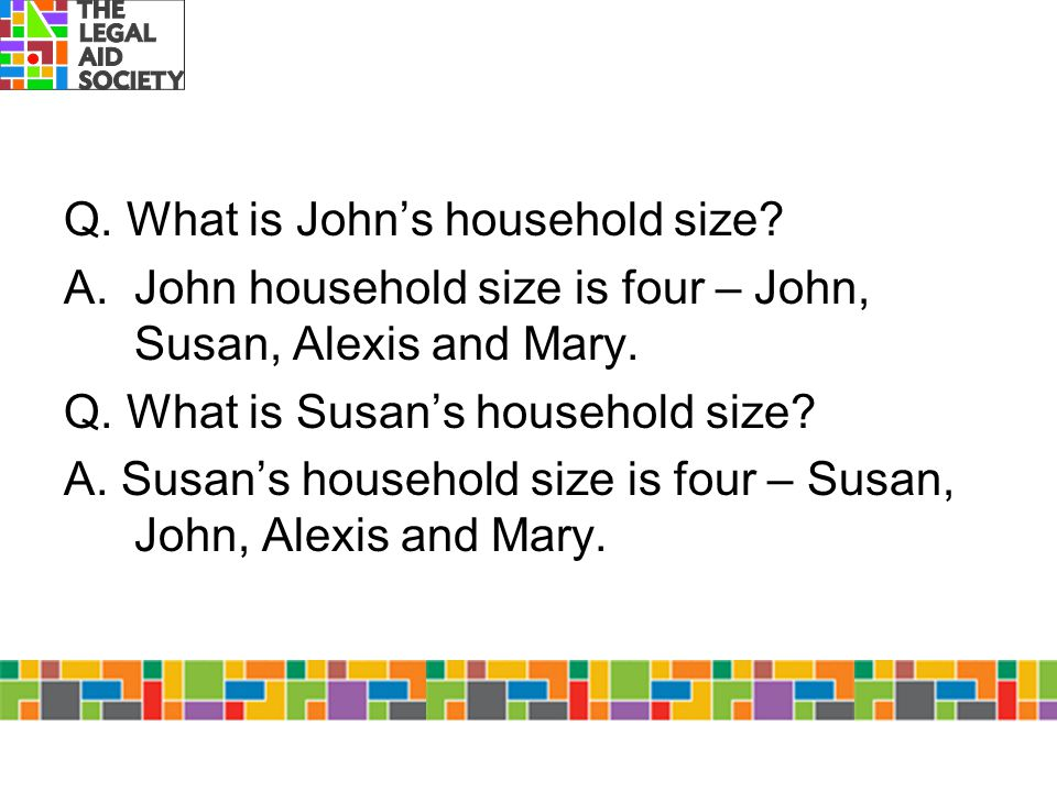 Q. What is John's household size