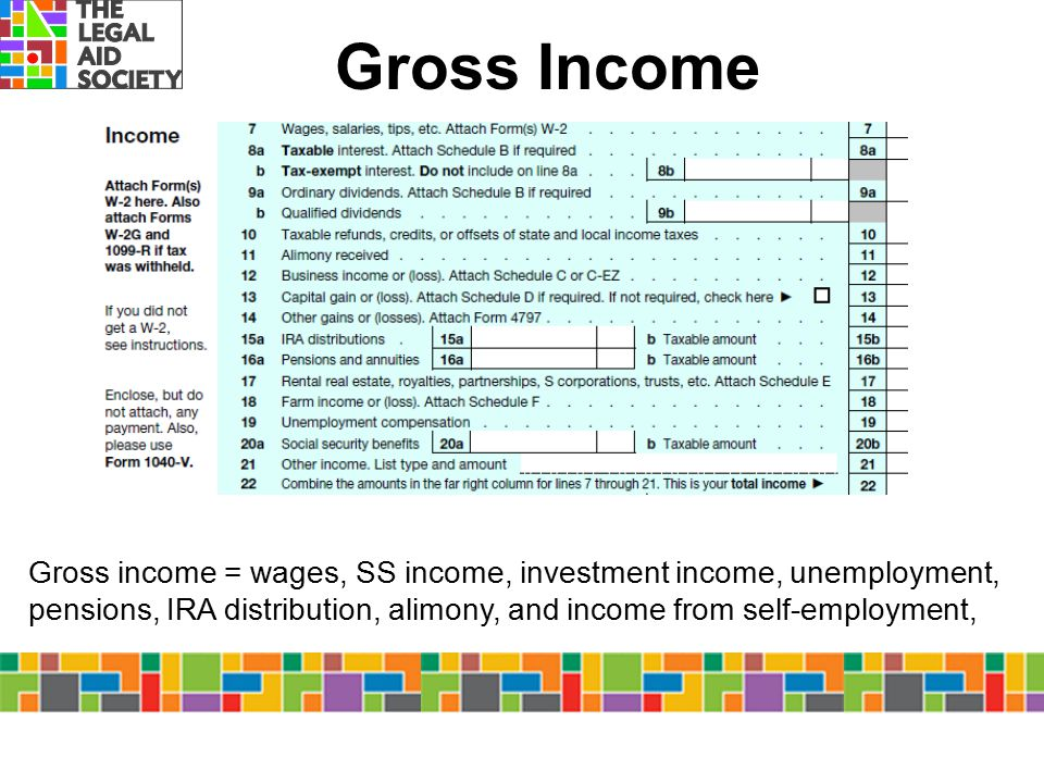 Gross Income Gross income = wages, SS income, investment income, unemployment, pensions, IRA distribution, alimony, and income from self-employment,