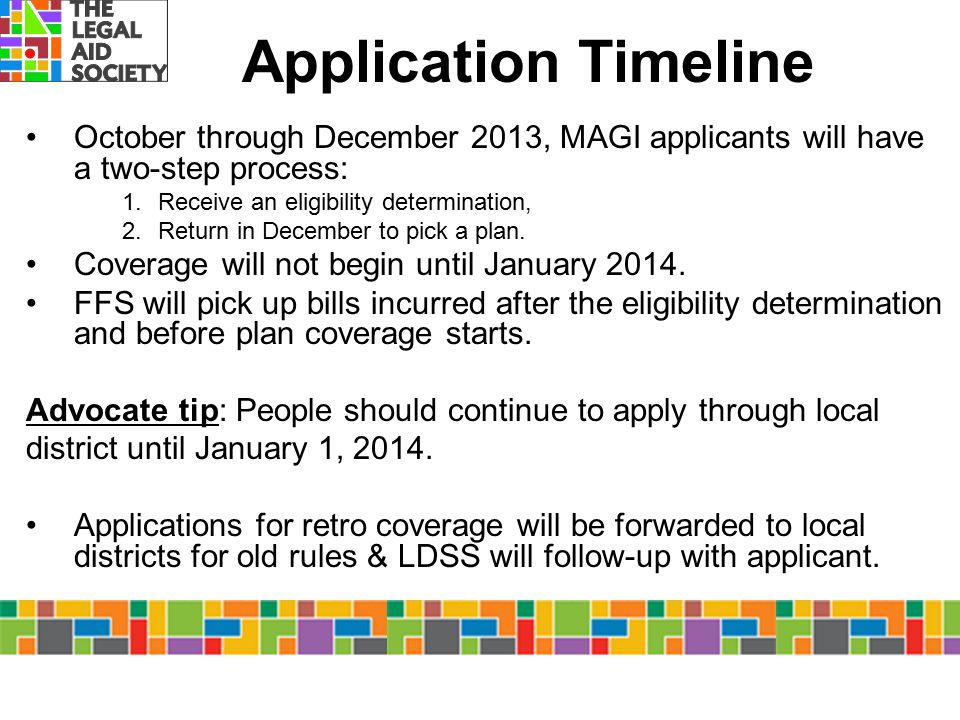 Application Timeline October through December 2013, MAGI applicants will have a two-step process: Receive an eligibility determination,