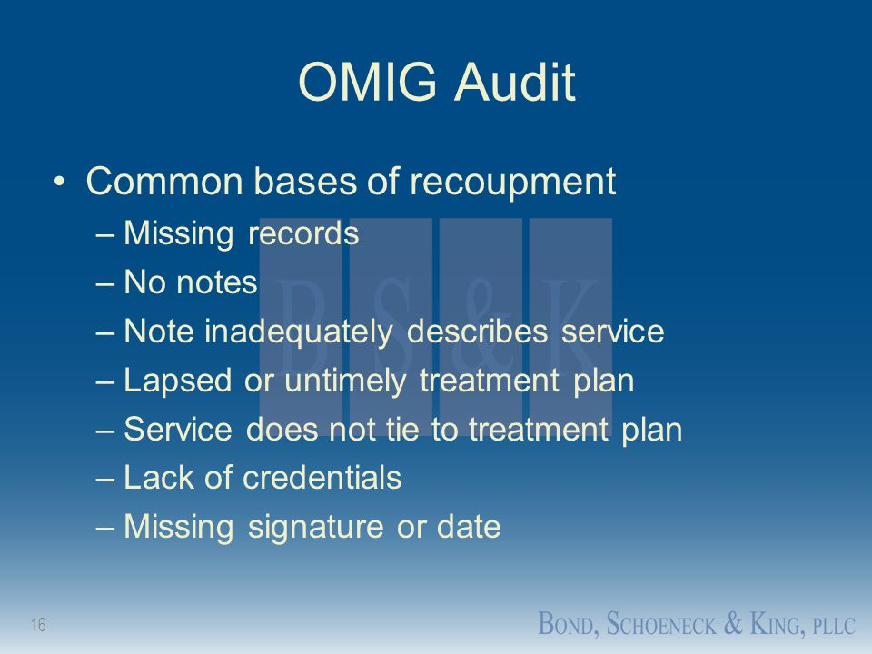 OMIG Audit Common bases of recoupment Missing records No notes