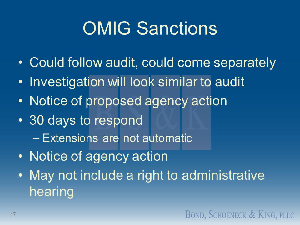 OMIG Sanctions Could follow audit, could come separately