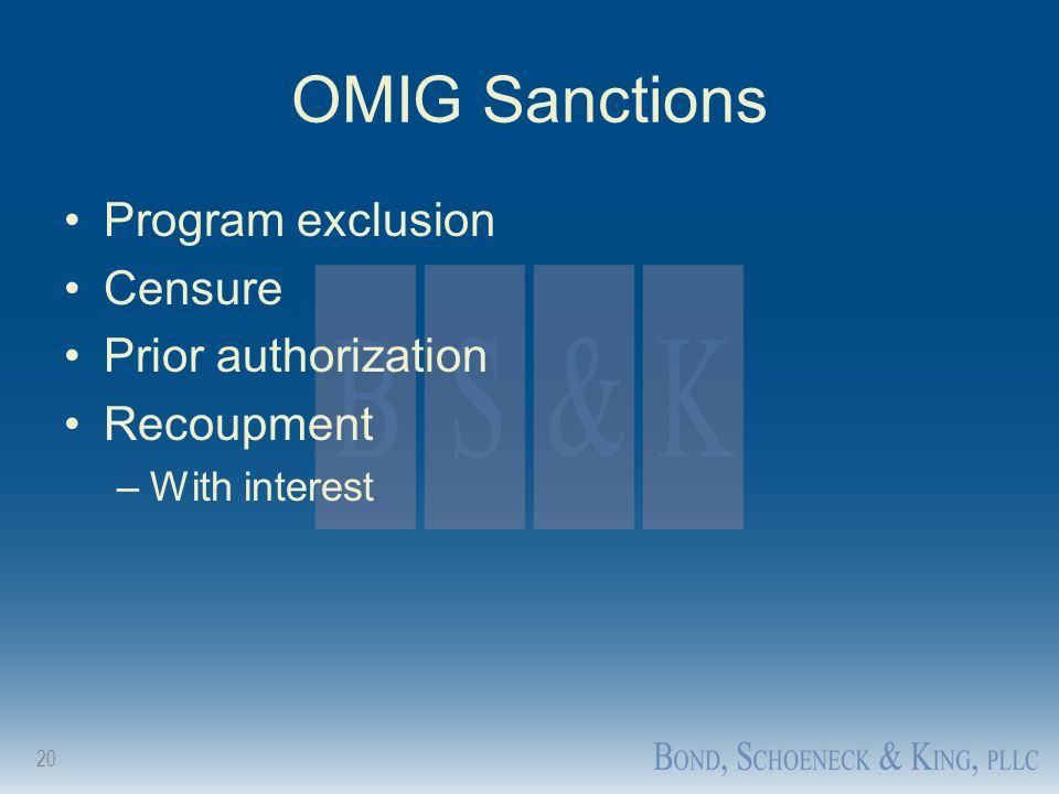 OMIG Sanctions Program exclusion Censure Prior authorization