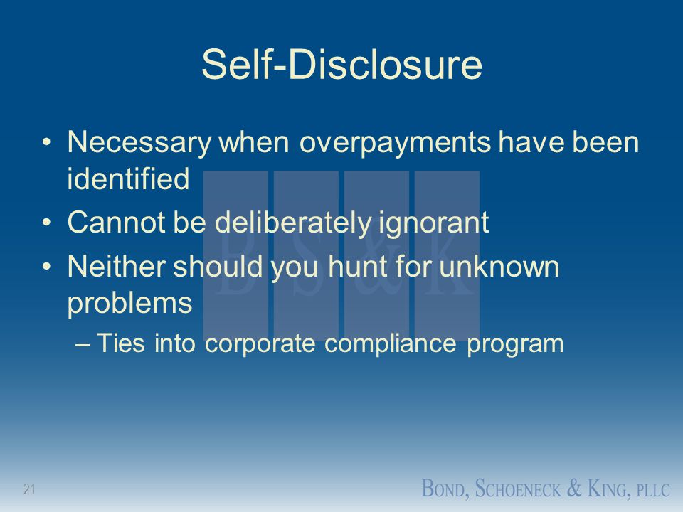 Self-Disclosure Necessary when overpayments have been identified