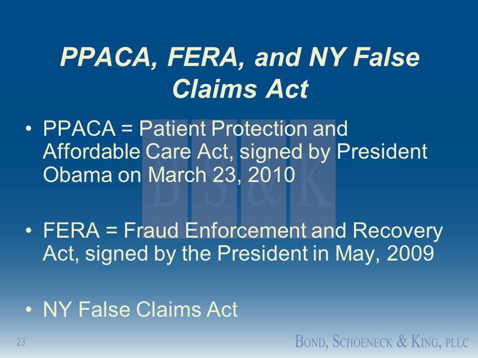PPACA, FERA, and NY False Claims Act