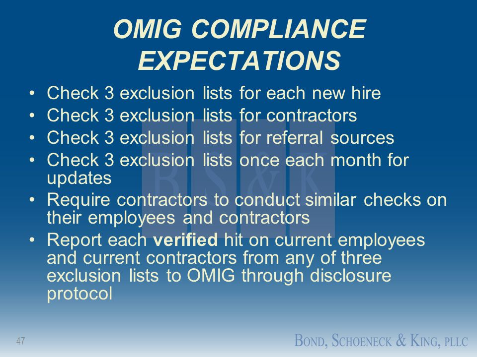 OMIG COMPLIANCE EXPECTATIONS